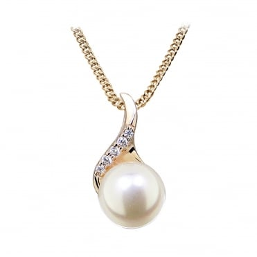 Rose Gold Vermeil, Pearl & CZ Twist Pendant Necklace