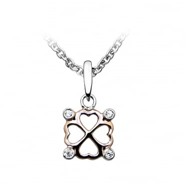 Rose Gold Vermeil, Silver & CZ Clover Pendant Necklace