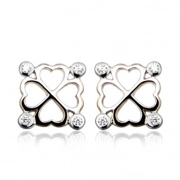 Rose Gold Vermeil, Silver & CZ Clover Stud Earrings
