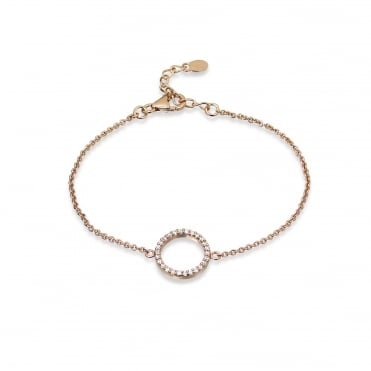 Silver, CZ and Rose Gold Vermeil Circle Bracelet
