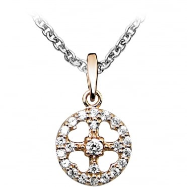 Silver Rose Gold Vermeil Circle & Cross Pendant Necklace