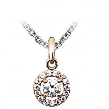 Silver, Rose Gold Vermeil & CZ Circle Solitaire Pendant Necklace