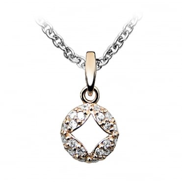 Silver, Rose Gold Vermeil & CZ Diamond Cut Out Necklace