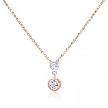 Silver, Rose Gold Vermeil & CZ Double Wheel Pendant Necklace