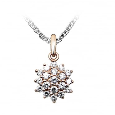 Silver, Rose Gold Vermeil & CZ Flower Pendant Necklace