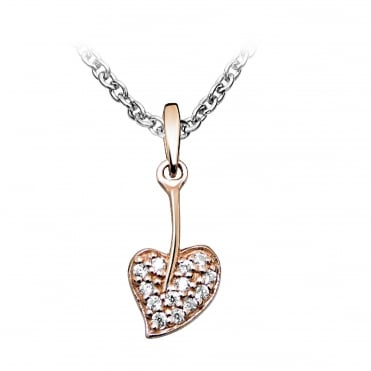 Silver, Rose Gold Vermeil & CZ Heart Leaf Necklace