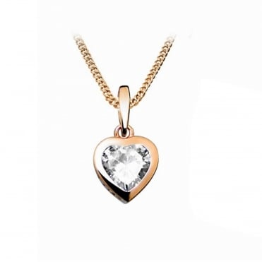 Silver, Rose Gold Vermeil & CZ Heart Pendant Necklace