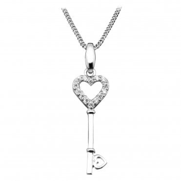 Silver, Rose Gold Vermeil & CZ Key Pendant Necklace