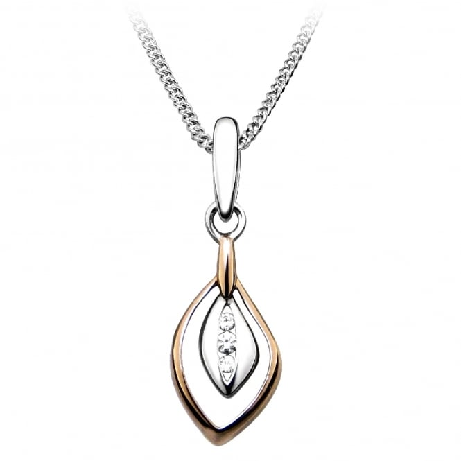Grace Rose Silver, Rose Gold Vermeil & CZ Loop Pendant Necklace
