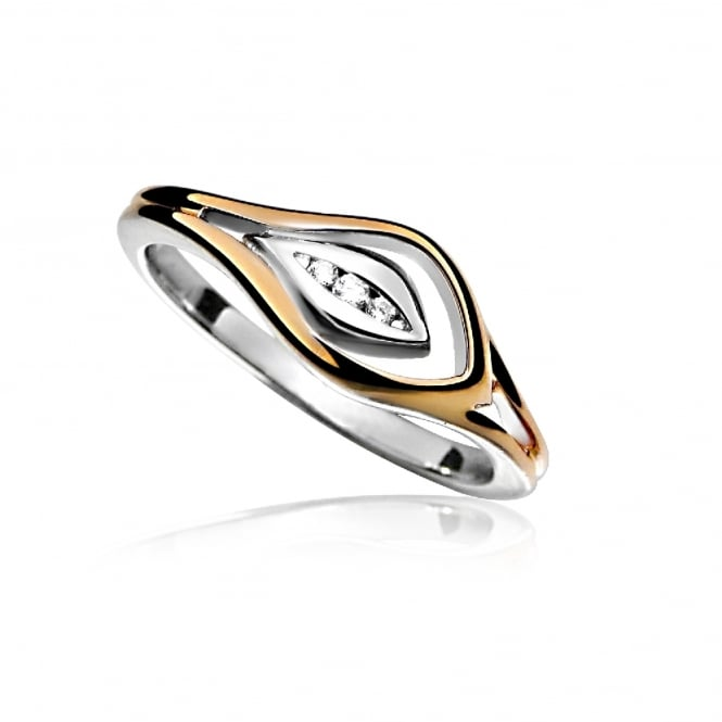 Grace Rose Silver, Rose Gold Vermeil & CZ Loop Ring Size N