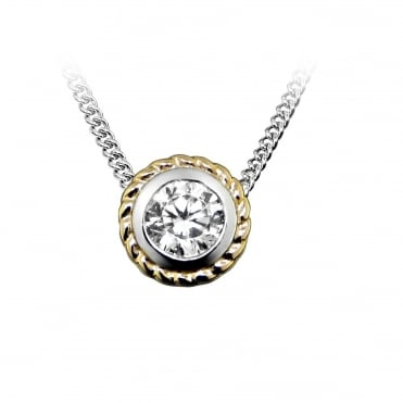 Silver, Rose Gold Vermeil & CZ Rope Pendant Necklace