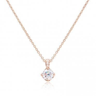 Silver, Rose Gold Vermeil & CZ Solitaire Pendant Necklace