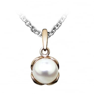 Silver, Rose Gold Vermeil & Pearl Pendant Necklace