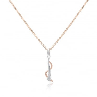 Silver & Rose Gold Vermeil Twist Pendant Necklace