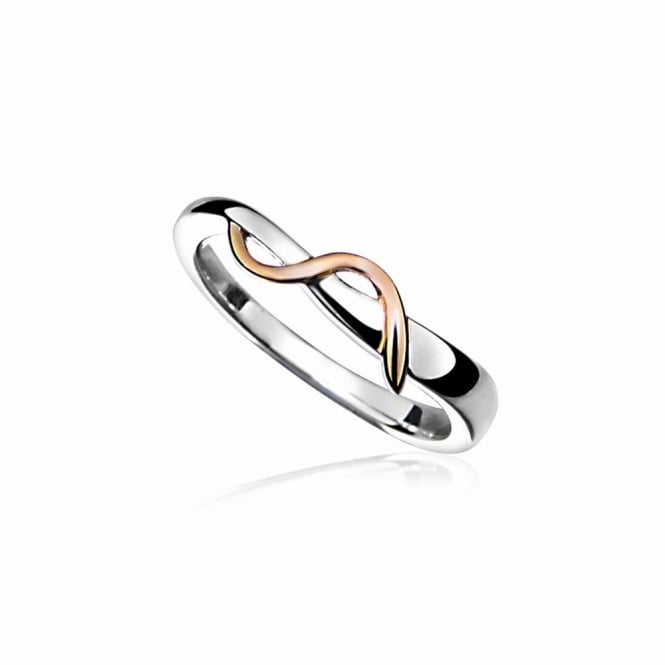 Grace Rose Silver & Rose Gold Vermeil Twist Ring Size P