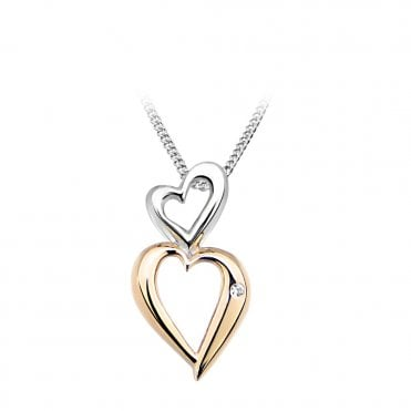 Rose Gold & CZ Double Heart Pendant Necklace
