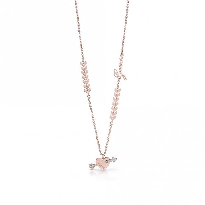 Guess Cupid Rose Gold Pendant Necklace