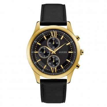 Gent's Gold & Black Dial & Leather Watch