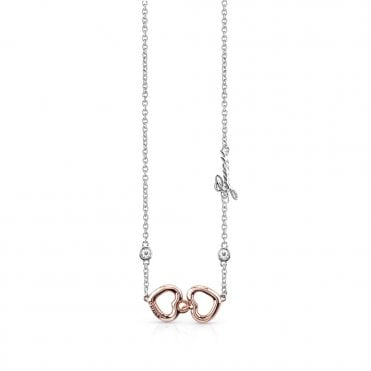 Grace Two Tone Rose Gold Heart Pendant Necklace