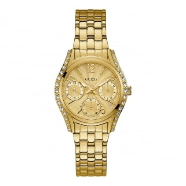 Ladies' Gold & Crystals Sunray Dial Watch