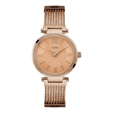 Ladies' Rose Gold & Crystals & Rose Gold Wire Watch