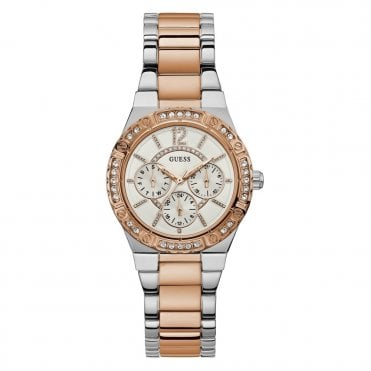 Ladies' Rose Gold & Silver & Crystals Watch
