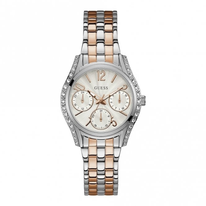 Guess Ladies' Silver & Crystals White Dial Silver & Rose Gold Watch