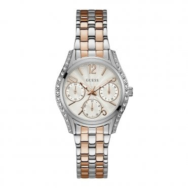 Ladies' Silver & Crystals White Dial Silver & Rose Gold Watch