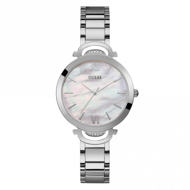 Guess Ladies' Silver & White Mother Of Pearl Dial Watch