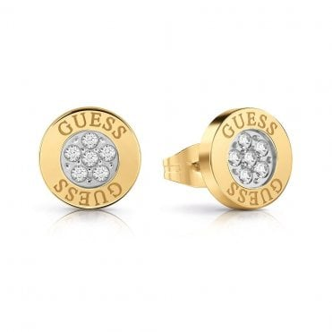 c9b847e90 Love Knot Gold Steel and Crystal Button Stud Earrings · Guess ...