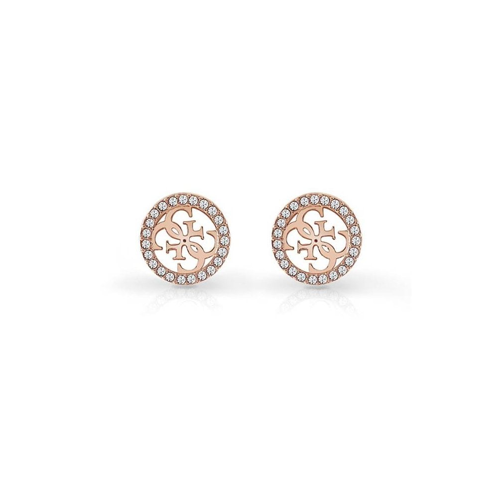 daa6ec919f GUESS Rose Gold and Crystal Tropical Sun Stud Earrings