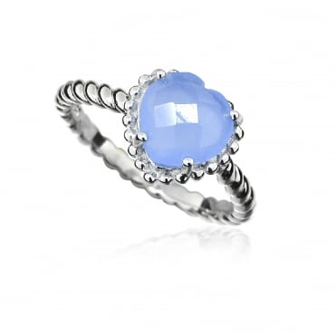 Silver Blue Chalcedony Heart Ring, N