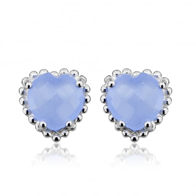 Hope Silver & Blue Chalcedony Heart Stud Earrings