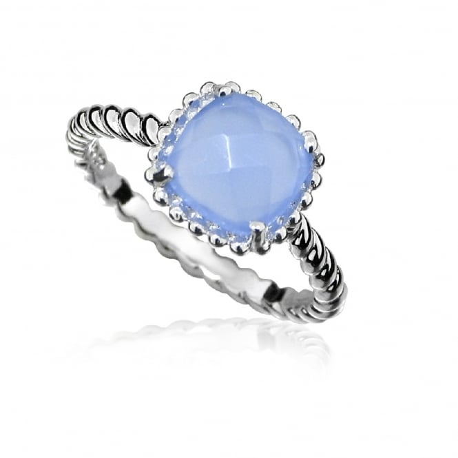 Hope Silver & Blue Chalcedony Square Ring Size N