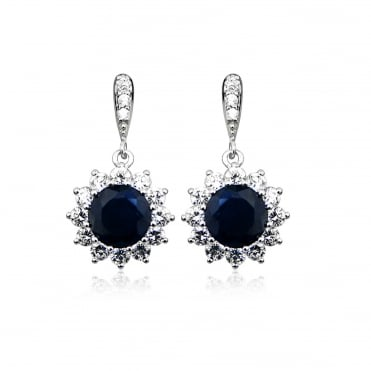 Silver, Blue Sapphire & CZ Drop Earrings