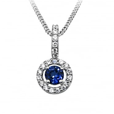 Silver Blue Sapphire Round Pendant Necklace