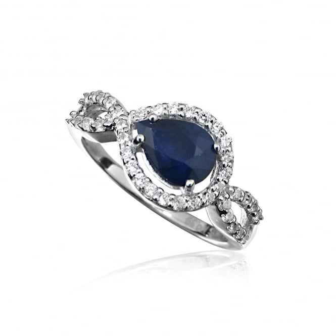 Hope Silver & Blue Sapphire Teardrop Ring Size P