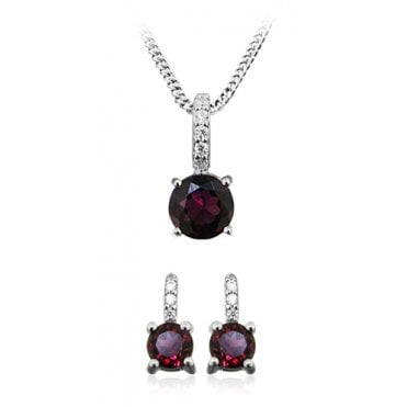Silver, CZ and Red Garnet Pendant Necklace