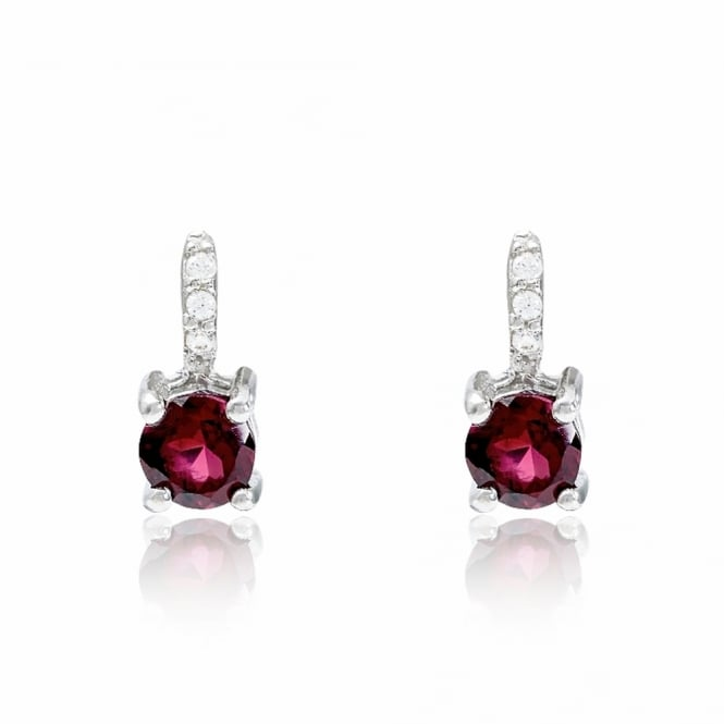 Hope Silver, CZ and Red Garnet Stud Earrings