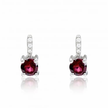 Silver, CZ and Red Garnet Stud Earrings