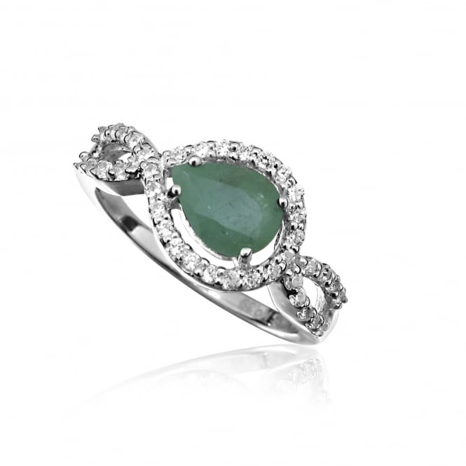Hope Silver, CZ & Green Emerald Teardrop Ring Size N