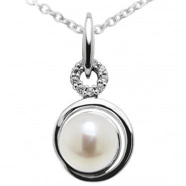Silver & CZ & Pearl Circle Pendant Necklace
