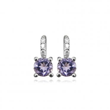Silver, CZ & Purple Amethyst Earrings