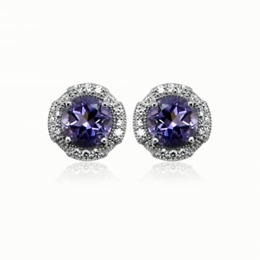 Silver, CZ & Purple Amethyst Round Stud Earrings