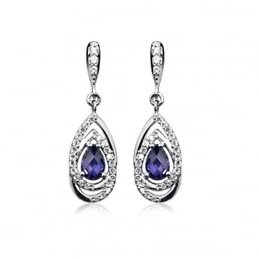 Silver, CZ & Purple Amethyst Teardrop Earrings