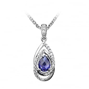 Silver, CZ & Purple Amethyst Teardrop Pendant Necklace