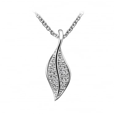 Silver & CZ Small Leaf Pendant Necklace