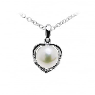 Silver Heart CZ & Pearl Pendant Necklace