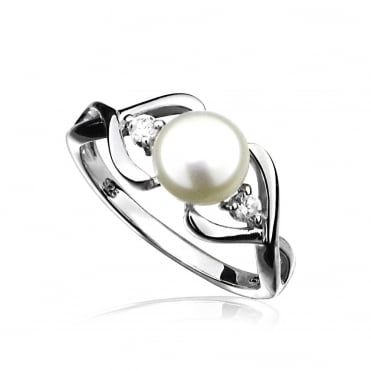 Silver Pearl & CZ Infinity Style Ring, L