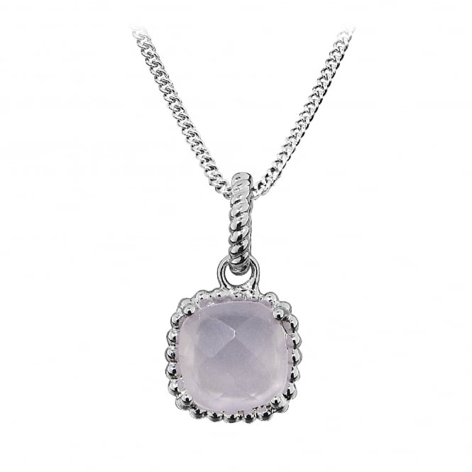 Hope Silver & Pink Chalcedony Square Pendant Necklace
